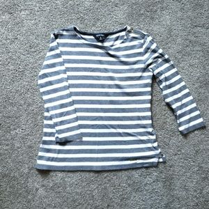 Ellen tracy grey and white striped top